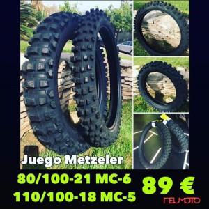 Oferta Neumaticos Campo Moto Cross Metzeler 80/100-21 MC6 y 110/100-18 MC5 89€